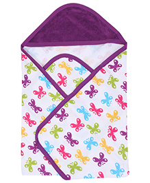 Morisons Baby Dreams Purple Hooded Towel - Butterfly Print