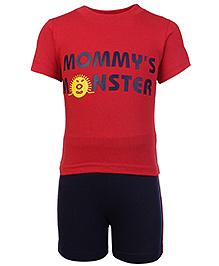 Babyhug Half Sleeves Printed T-Shirt And Shorts - Red
