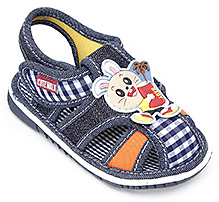Cute Walk Baby Sandal with Bunny Applique - Blue