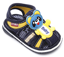 Cute Walk Baby Sandal with Panda Applique - Navy Blue