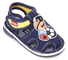 Cute Walk Sandal with Teddy and Ball Motif - Dark Blue