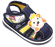 Cute Walk Sandal with Teddy Face Applique - Blue