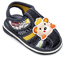 Cute Walk Sandal with Teddy Face Applique - Navy Blue