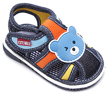 Cute Walk Baby Sandal With Bear Motif - Blue