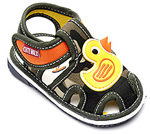 Cute Walk Baby Sandal With Duck Motif - Green