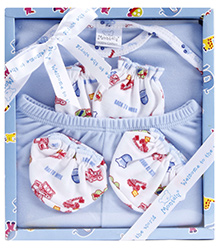Montaly Baby Gift Set Back To Work Print Blue - Set of 4