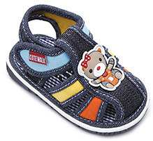 Cute Walk Baby Sandal With Teddy Motif - Navy Blue