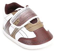 Littles Sports Baby Booties - White And Brown