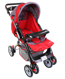 Luv Lap Baby Stroller Cruze With Canopy - Red And Grey