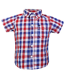 FS Mini Klub Checks Print Short Sleeveless Shirt- Red