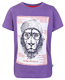 BonOrganik Half Sleeves T Shirt Purple - Lion Print