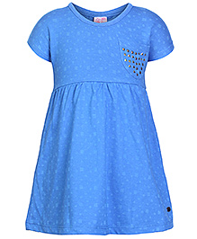 FS Mini Klub Short Sleeves Frocks with Studs on Pocket - Blue