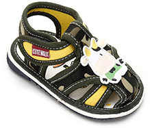 Cute Walk Sandal With Cow Motif - Green