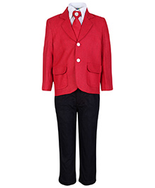 SAPS Full Sleeves Four Piece Party Suit - Red