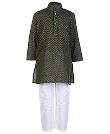 Babyhug Full Sleeves Stand Collar Kurta And Pajama Set