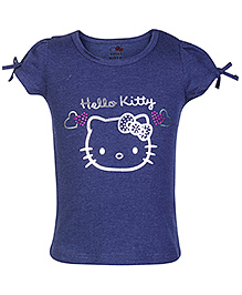 Hello Kitty Short Sleeves Top With Hello Kitty Print - Navy Blue