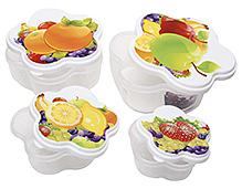 Fab N Funky Fruit Print Print Lunch Box- Set of 4