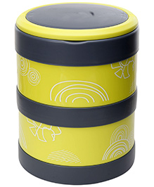 Fab N Funky Double Decker Lunch Box with Spoon - Green