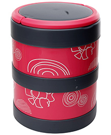 Fab N Funky Double Decker Lunch Box with Spoon - Dark Pink