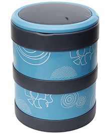 Fab N Funky Double Decker Lunch Box with Spoon - Blue