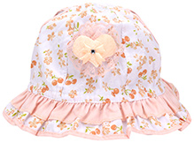 Babyhug Bucket Cap Peach - Floral Print And Heart Motif
