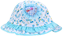 Babyhug Bucket Cap Sky Blue - Floral Print And Heart Shape Motif