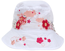 Babyhug Bucket Cap White - Flower Embroidery