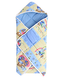 Little's Teddy Print Hooded Wrapper- Blue and Yellow