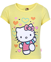 Hello Kitty Short Sleeves Top Yellow - Heart Print