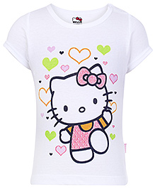 Hello Kitty Short Sleeves Top White - Heart Print