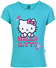 Hello Kitty Short Sleeves Top Blue - Heart Print