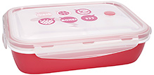 Fab N Funky Lunch Box With Spoon - Pink and White