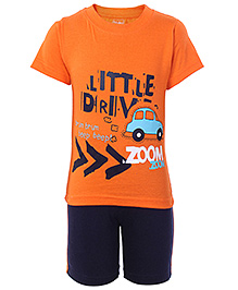 Babyhug Half Sleeves T Shirt and Shorts with Car Print - Orange and Blue