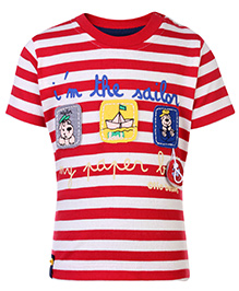 Ollio Kids Half Sleeves T Shirt Red - Sailor Boats Print