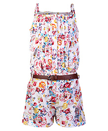 Hello Kitty Singlet Jumpsuit White - Roses And Hello Kitty Print