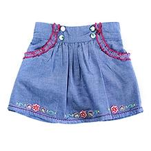 Nauti Nati Chambray Skirt With Embroidery Blue