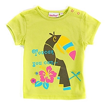 Nauti Nati Short Sleeves Color Blocked Bird Print Top Lime