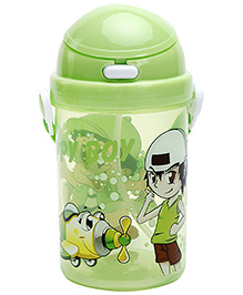 Fab N Funky Happy Boy Print Water Bottle- Green