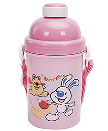 Fab N Funky Table Tennis Print Water Bottle- Pink