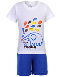 Babyhug Half Sleeves T Shirt and Shorts with Elephant Print - Blue and White