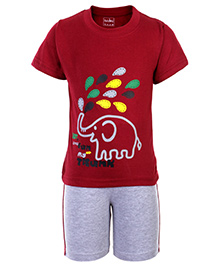 Babyhug Half Sleeves T Shirt and Shorts with Elephant Print - Maroon and Grey