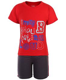 Babyhug Half Sleeves T Shirt and Shorts - Red and Black