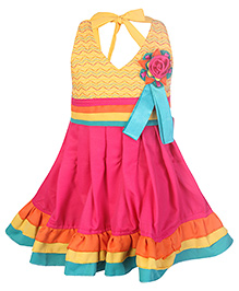 SAPS Halter Neck Frock With Pleats And Flower Motif - Yellow