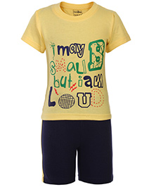 Babyhug Half Sleeves T Shirt and Shorts - Yellow and Navy Blue
