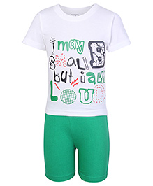 Babyhug Half Sleeves T Shirt and Shorts - White and Green
