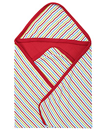 Babyhug Hooded Baby Wrapper with Stripe Print - Red