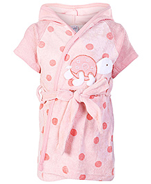 Pink Rabbit Half Sleeves Polka Dot Printed Hooded Bath Robe - Pink