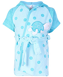 Pink Rabbit Half Sleeves Polka Dot Printed Hooded Bath Robe - Sky Blue