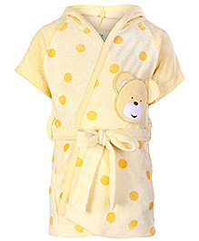Pink Rabbit Half Sleeves Polka Dot Printed Hooded Bath Robe - Light Yellow