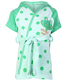 Pink Rabbit Half Sleeves Polka Dot Printed Hooded Bath Robe - Green